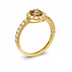 Cognac Diamond Ring with 1.3ct Total Diamond Weight