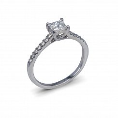 Princess Cut Engagement Ring with 0.61ct Total Diamond Weight