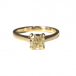 1ct Yellow Cushion Cut Diamond Solitaire