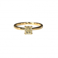 0.710ct Yellow Cushion Cut Diamond Solitaire
